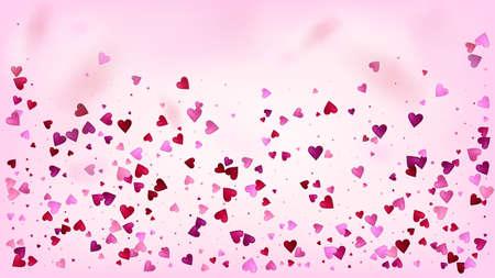 Falling Hearts Vector Confetti. 矢量图像