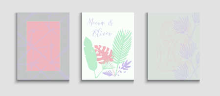 Abstract Hipster Vector Covers Set. Oriental Style Invitation. Geometric Frame Texture. Hand Drawn Elegant Background. Tie-Dye, Tropical Leaves Posters. Minimal Olive Leaves Magazine Template.