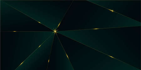 Emerald Luxury Gold Background. Royal Silver Business Border 3D Abstract Polygonal Sparkle Cover. Golden Rich VIP Triangular Frame New Year Christmas Celebration Design. Gold Crystal Luxury Card