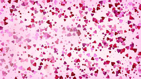 Realistic Hearts Vector Confetti. Valentines Day Wedding Pattern. Beautiful Pink Design Valentines Day Decoration with Falling Down Hearts Confetti. Rich VIP Gift, Birthday Card, Poster Background Иллюстрация
