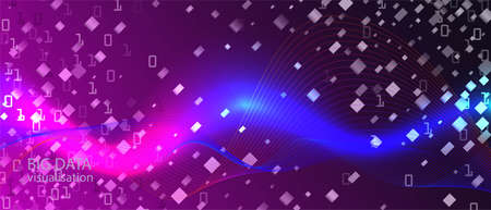 Big Data Cyber Vector Equalizer. Blue Pink Purple Background. Fractal Liquid Glow Digital Equalizer Slide. Geometric Abstract Trendy Template. Matrix Falling Binary Code. Big Data Cyber Banner