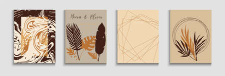 Abstract Retro Vector Posters Set. Tie-Dye, Tropical Leaves Covers. Hand Drawn Vintage Background. Oriental Style Invitation. Geometric Border Pattern. Cool Olive Leaves Magazine Layout. Stock fotó - 155371556