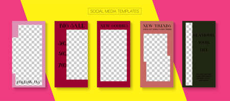 Modern Stories Vector Background. Blogger Modern Cards, Social Media Kit Template. Online Shop Rich VIP Graphic Phone. Hipster Sale, New Arrivals Story Layout. Social Media Stories Simple Set