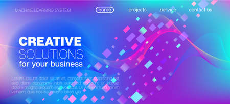 Falling Particles Distressed Purple Vector. Funky Geometric Background. Data Analytics Cool Banner. Big Data Neon Background. Pink Blue Purple Futuristic Gradient Overlay. 3D Liquid Shapes Website.