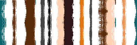 Funky Vertical Stripes Seamless Background. Spring Summer Distress Stripes. Cool Vector Watercolor Paint Lines. Ink Brushed Lines Texture. Winter Autumn Bright Fashion Print. Dirty Graffiti Trace. Vectores