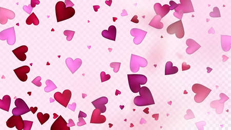Realistic Hearts Vector Confetti. Valentines Day Wedding Pattern. Beautiful Pink Sparkles Valentines Day Decoration with Falling Down Hearts Confetti. Trendy Gift, Birthday Card, Poster Background