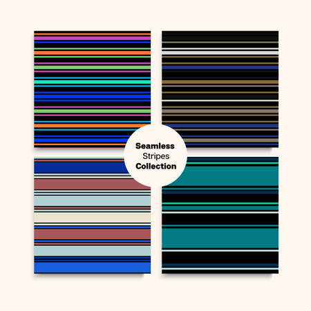 Sailor Stripes Seamless Design Set. Winter Spring Trendy Fashion Fabric. Hipster Lines Endless Texture. Modern Fashion Background Swimming Suit Lines Female Male Childrens Seamless Stripes Pattern.