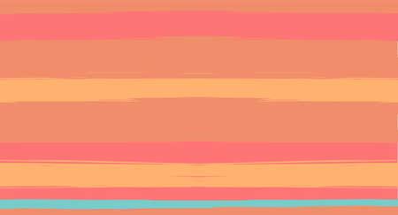 Orange, Brown Vector Watercolor Sailor Stripes Suit Seamless Summer Pattern. Retro Vintage Grunge Fabric Fashion Design Horizontal Brushstrokes. Brush Painted Ink Trace, Geometric Autumn Print
