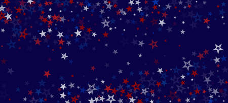 National American Stars Vector Background. USA Independence 4th of July President's Labor 11th of November Memorial Veteran's Day Texture. American Blue, Red, White Falling Stars. US Election Border. Stock fotó - 155437882