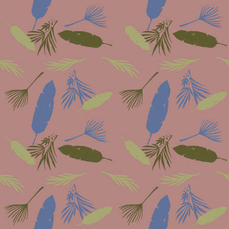 Funky Tropical Vector Seamless Pattern. Elegant Male Shirt Female Dress Texture. Feather Dandelion Monstera Banana Leaves Tropical Seamless Pattern. Fine Summer Fabrics. Doodle Floral Background. 向量圖像
