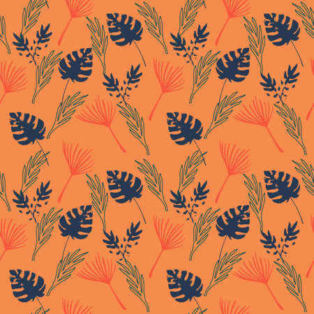 Trendy Tropical Vector Seamless Pattern. Beautiful Male Shirt Female Dress Texture. Drawn Floral Background. Nice Summer Textile. Feather Banana Leaves Monstera Dandelion Tropical Seamless Pattern. 向量圖像
