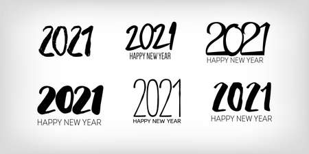 Set of Black and White 2021 Border Graphic 2021 Icon Pattern. Winter Holiday Celebration Banner. Christmas   Wallpaper. Set of Black and White 2021 Text Typography. Happy New Year Poster Design.
