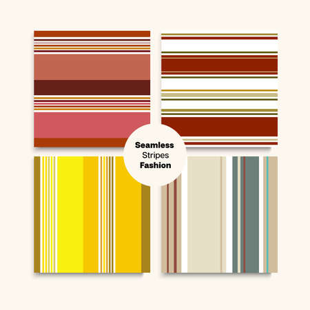 Sailor Stripes Seamless Design Set. Elegant Lines Endless Texture. Childrens Female Male Seamless Stripes Pattern. Swimming Suit Lines Autumn Winter Modern Fashion Fabric. Funky Fashion Background
