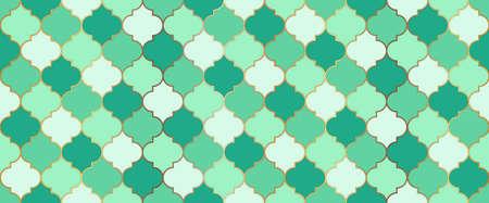 Seamless Moroccan Texture Persian Mosque Window Grid. Eid Mubarak Islamic Background. Seamless Moroccan Mosaic Design. Ramadan Traditional Mosque Golden Shape. Ramadan Kareem Muslim Illustration. 向量圖像