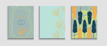 Abstract Asian Vector Banners Set. Tie-Dye, Tropical Leaves Covers. Hand Drawn Hipster Background. Geometric Frame Texture. Japanese Style Invitation. Simple Olive Leaves Magazine Template.