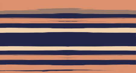 Orange, Brown Vector Watercolor Sailor Stripes Nice Seamless Summer Pattern. Vintage Retro Grunge Fabric Fashion Design Horizontal Brushstrokes. Hand Painted Ink Lines, Geometric Track Prints