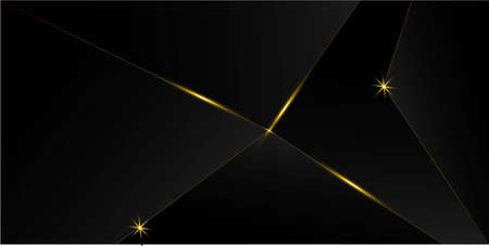 Black Luxury Gold Background. New Year Christmas Celebration Banner. 3D Abstract Polygonal Shiny Cover. Golden Silver Polygon Frame Royal Premium Business Design Gold Crystal Luxury Card