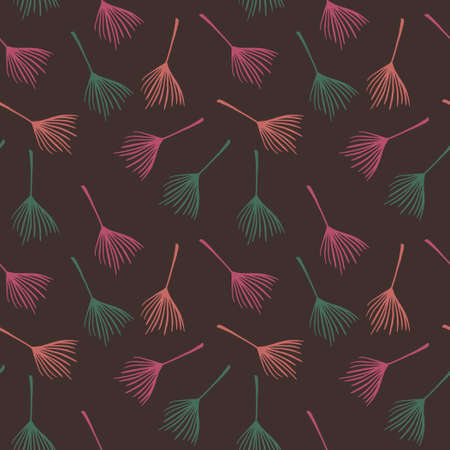 Funky Tropical Vector Seamless Pattern. Beautiful Male Shirt Female Dress Texture. Drawn Floral Background. Banana Leaves Monstera Feather Dandelion Tropical Seamless Pattern. Nice Summer Textile.