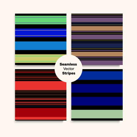 Sailor Stripes Seamless Pattern Set. Business Suit Lines Modern Fashion Background Elegant Lines Endless Texture. Male Female Childrens Seamless Stripes Design. Winter Summer Funky Fashion Textile. 向量圖像