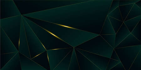 Emerald Luxury Gold Background. 3D Abstract Polygonal Sparkling Cover. New Year Christmas Celebration Poster. Golden Premium Low Poly Design Royal Silver Business Frame Crystal Gold Luxury Card