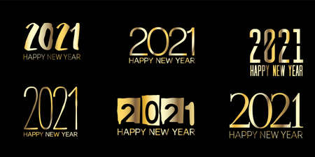 Set of Golden Foil 2021 Frame Christmas Logo Wallpaper. Graphic 2021 Icon Texture. Happy New Year Border Design. Set of Golden Foil 2021 Text Typography. Winter Holiday Celebration Poster. Vectores