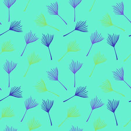 Hipster Tropical Vector Seamless Pattern. Fine Summer Fabrics. Feather Monstera Dandelion Banana Leaves Tropical Seamless Pattern. Doodle Floral Background. Elegant Male Shirt Female Dress Texture.