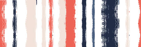 Funky Vertical Stripes Seamless Background. Dirty Vector Watercolor Paint Lines. Cool Graffiti Trace. Summer Spring Distress Stripes. Winter Autumn Bright Fashion Fabric. Gouache Ink Lines Texture. Vectores