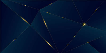 Deep Blue Luxury Gold Background. Christmas New Year Celebration Banner. 3D Abstract Polygonal Sparkle Cover. Golden Silver Low Poly Border Royal Premium Business Design Gold Luxury Crystal Card
