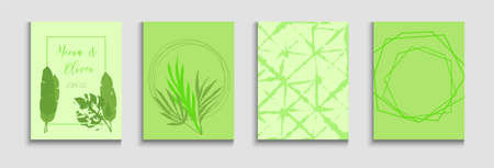 Abstract Asian Vector Banners Set. Geometric Frame Pattern. Tie-Dye, Tropical Leaves Posters Hand Drawn Minimal Background. Soft, Elegant Invitation Design. Painted Lines Forms in Oriental Style.