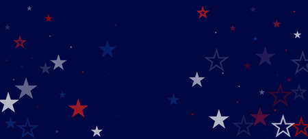 National American Stars Vector Background. USA 4th of July Independence Veteran's Labor President's Memorial 11th of November Day Border. US Election Frame. American Blue, Red, White Falling Stars.