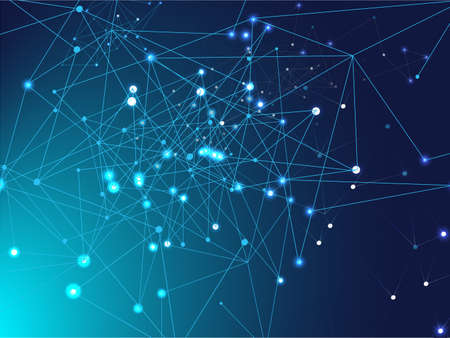 Galaxy Net Science Design, Universe Star Sky. Plexus Lines Nodes Vector Background. Big Data Information, Triangular Blockchain Nodes. Blue Technology Space, Internet Cyberspace Data Concept.
