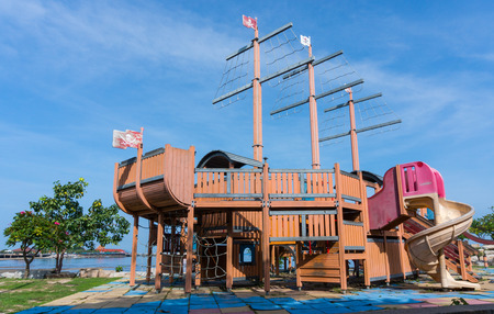 chonburi: playground at public address with blue sky background