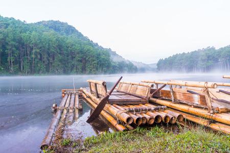 Bamboo raft on Pang Ung reservoir lake. photo