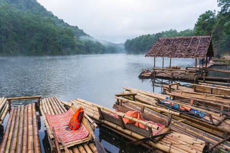 raft: Bamboo raft on Pang Ung reservoir lake.
