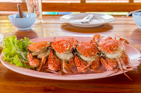 blue swimmer crab: Steamed Blue crab or Blue swimmer crab