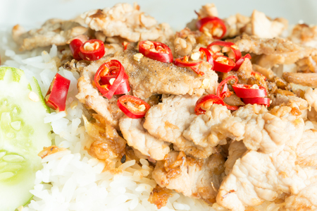foam box: Rice with pork fried with garlic and black pepper in  foam box