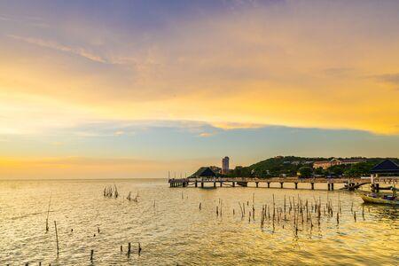 sunset at Laem Tan Bangsan Beach, Sriracha, Chonburi ,Thailand.