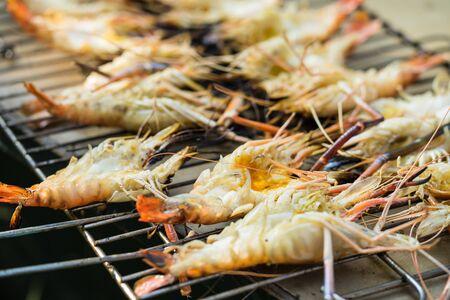 prawn grill on the stove Stockfoto