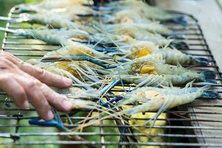 Pile of fresh raw prawn prepare for grill