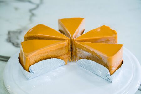 Tea cake slice on  white dish