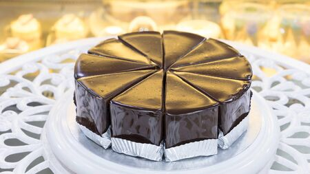 Chocolate Fudge Cake on a white table Stockfoto
