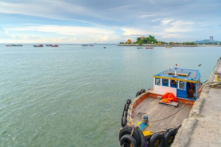Fishing boats are docked at Jarin pier. , Sriracha, Chonburi, Thailand