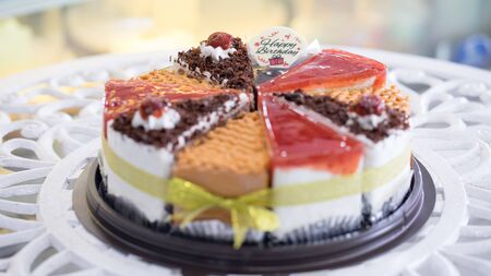 Many types of cakes combined into pounds for Happy Birthday Stockfoto