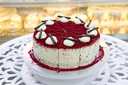 Red Velvet Cheesecake on a white table