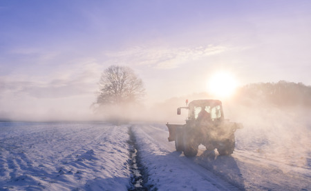 Tractor silhouette through fog, on snowy field - Misty Winter landscape with a countryroad, warmed up by sunrise and  wrapped in a coat of fog. From the mist it can be seen a silhouette of a farmer driving its tractor on a frosted field.
