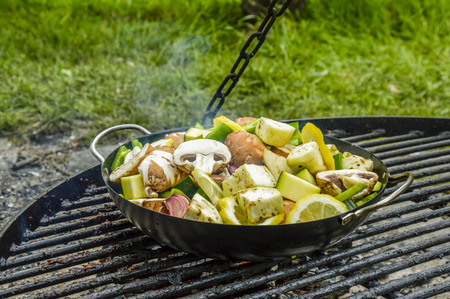 ajo: Vegetables on outdoor grill  Pan full with fresh vegetables and lemon slices, cooked on a grill out in nature.