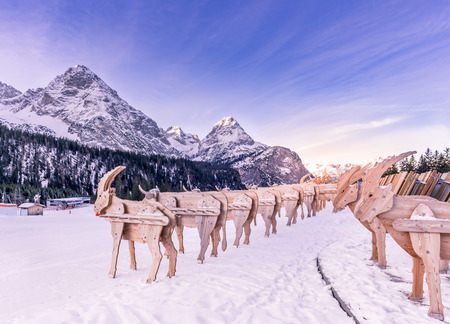 ski lodge: Wooden ski racks, reindeer shaped  Alpine scenery with two rows of reindeer shaped ski racks, surrounded by a layer of snow and the Alps mountains in the background. Picture taken in Ehrwald, Austria.