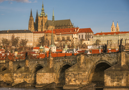 charles bridge: Charles Bridge close up and St. Vitus Cathedral in background  - Close up with the stone built Charles Bridge and the St. Vilus Cathedral, surrounded by other historical buildings, in the background. Stock Photo