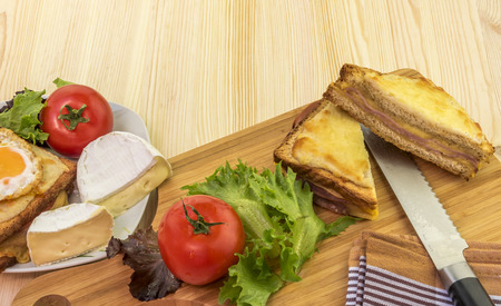 trencher: Sliced sandwich and fresh vegetables - Delicious food on a wooden table, french sandwiches called croque madame and croque monsieur, tomatoes, white cheese and salad.