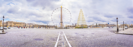 Panorama with Place de la Concorde in Paris - Panoramic view in Paris, France with the Place de la Concorde under a cloudy sky of February.